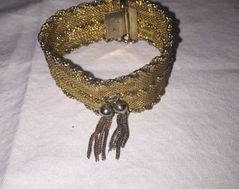 Gold Mesh Bracelet With Tassel, Marked HOBE, High Rating In Appraisal Guide, Safety Chain, Collectible,