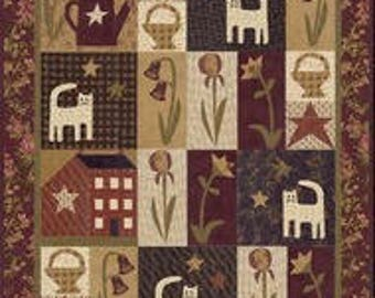 Rufus in the Garden BOM pattern, Janie Patek Quilt Pattern, Folkart design, New 2017, Cats,Iris, lilies, house, water can,stars,baskets