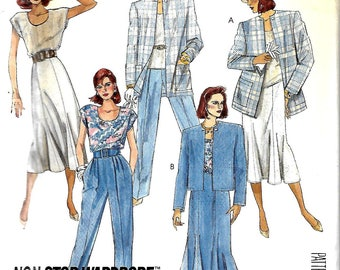 McCall's 2931 Misses Easy Unlined Jacket, Top, Fluted Skirt And Pants Pattern, Sizes 10 & 12, UNCUT