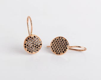 Black Diamonds Stud Earrings, Black Diamonds Rose Gold Earrings, Diamonds Disc Earrings, 18k Rose Solid Gold Earring Dangle