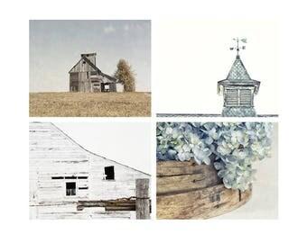 Wall Art Set of 4 Prints, Rustic Farmhouse Wall Decor, Barn Art, Country Home Decor, Blue Hydrangeas, Weathervane Art - SAVE 20%