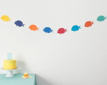 Under the Sea Party - Tropical Fish Garland - Beach Party Garland - Under the Sea Banner - Paper Bunting - Party Banner - Pool Party Garland