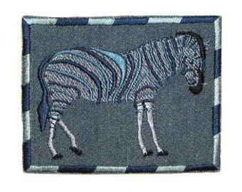 ID 0769 Zebra On Denim Patch Zoo Badge Portrait Embroidered Iron On Applique