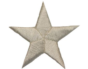 ID 3447 White Star Patch Symbol Space Night Sky Embroidered Iron On Applique