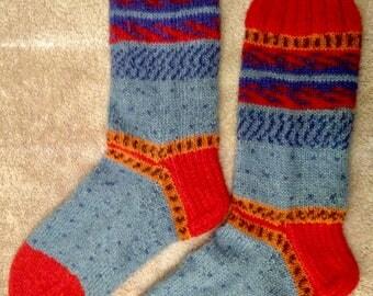 Hand Knit Mens or Womens Wool Socks - Regia Sock Yarn (S-236)