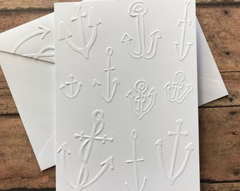 Anchor Cards White Embossed Note Cards, Greeting Cards, Nautical Note Cards, Masculine Note Card, Gift for Boat Lovers, Stationery Sets
