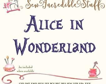 Alice in Wonderland Machine Embroidery Font