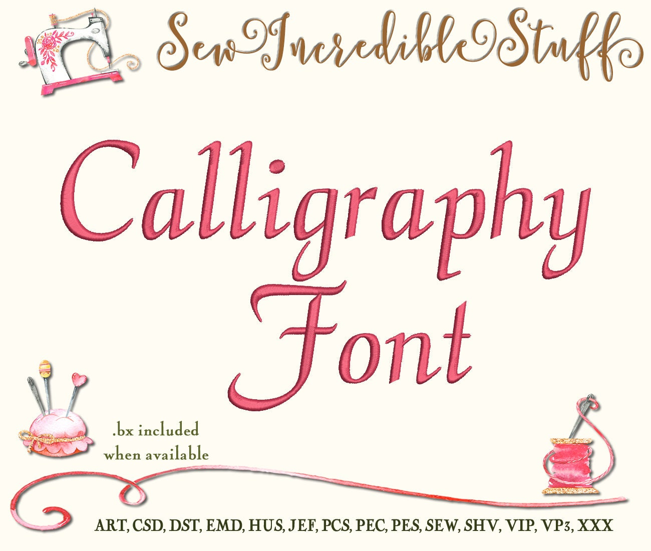 Calligraphy script machine embroidery font from
