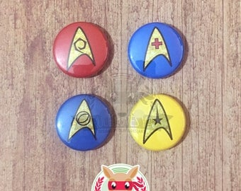 Star Trek inspired button pack ||| Starfleet Insignia TOS The Original Series Delta Shield Command Sciences Operations Medical
