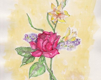 Rose Watercolor Print, Bouquet of Flowers Painting, Floral Home Decor, Summer Wall Picture, Still Life in Red, Green and Yellow, Garden Gift