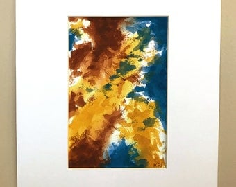 Earth Colors Abstract 2 Watercolor Painting