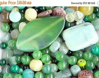 ON SALE Green Gemstone Bead Lot, Mixed Lot, Various Sized, Mixed Shapes 6 oz