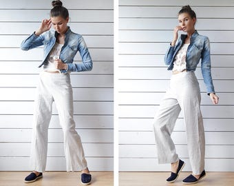 iBLUES by Max Mara vintage white blue pinstripe linen relaxed fit high waist crop length wide leg pants trousers S