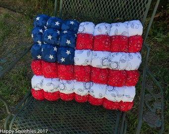 Local pickup only - US Flag Decorative Pillow  - Patriotic Decor for 4th of July - Bedding 17x20 - ready to ship