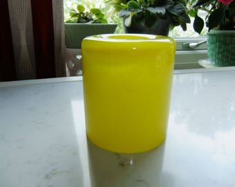 Vintage Swedish yellow glass tea light - Eternell by Orrefors - Owe Elvén design