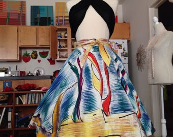 Mexican tourist novelty hand painted full skirt small
