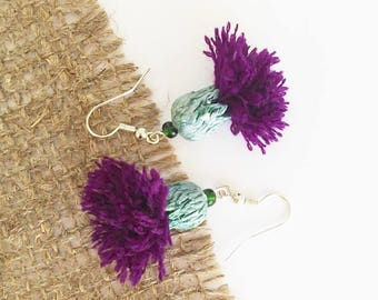 Pom Pom Earrings, Scottish Thistle Flower Earrings, Purple Earrings, Tassel jewelry, Summer jewelry, Boho jewelry, Dangle earrings