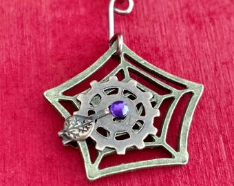 Steampunk Spiderweb Necklace