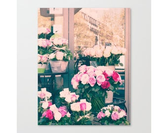 Paris print, Paris photography, Paris wall art, wall art canvas art, pink wall art, large wall art, flower market, canvas wall art, framed
