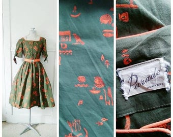 20% OFF / Pharaoh's Darling 1950s Olive Green & Orange Egyptian Novelty Print Dress with Unique Matching Key Belt Detail