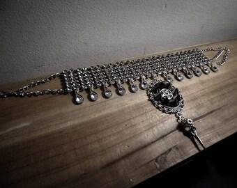 Necklace maxi silver lace bib rhinestones ♠ 666 Vampiria 666 ♠
