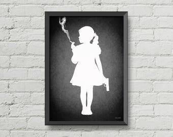 Kids today,poster,digital print,wall decor,home decor,silhouette,black and white,gothic,girl,art,original art,gift ideas,