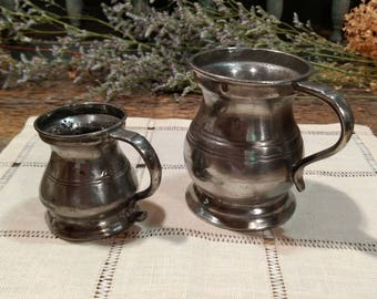 Very Cool and Very Old Pair of Pewter Tankards / Antique / GLL / Small / Miniature / Great Markings / Stamps / Crown