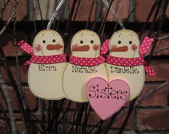 Personalized Snowmen Ornament - Three Sisters