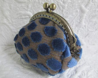 78- Coin purse - Fabric with Metal Frame, handmade, wallet
