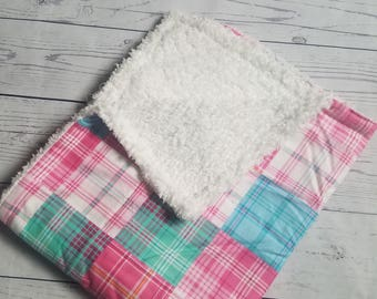 Plaid Flannel Blanket with Sherpa wool Carseat Blanket Crib Blanket Baby Blanket
