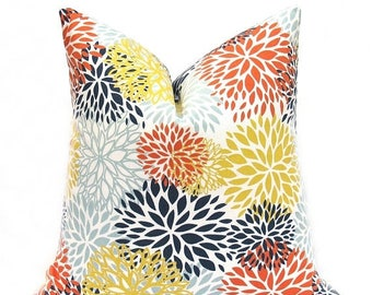 15% Off Sale Pillow Cover, Throw Pillow cover, Orange Pillow, Blue Pillow, Floral Pillow, Accent Pillow, Decorative Throw Pillow, Cushion Co