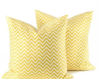 15% Off Sale Yellow Pillow Decorative Pillow Covers SET  Pillow covers  Cushions. Skinny Chevron. Home Decor. Accent Pillow .Toss Pillow. Sp