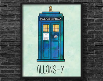 Tardis Allons-y, Doctor Who Inspired Print
