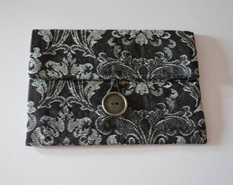 FoldOver tapestry clutch, travel kit, underwear pocket, bookcase or tablet pocket, evening clutch, grey flowers made in Paris