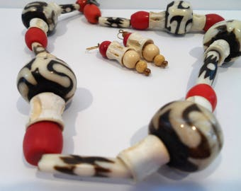 Bold Colorful African Batik Bead Necklace & Earring Set Red and Brown Trade Bead Necklace Boho Tribal Jewelry Batik Bone Bead Necklace