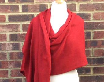 Christmas red  extra large shawl .  Winter wedding shawl. Red Travel Wrap . Gift for mum grandmother. Outlander style Christmas Wrap.