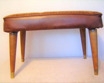 Vintage Brown Foot Stool Ottoman Hassock Mid Century Modern Furniture