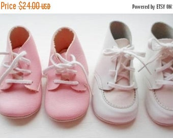 ON SALE Vintage Infant Baby Shoes, 2 Pair, 1 Pink, 1 Pink & White, Like New, Lace Up Closure, High Top Shoe, Baby Shoe, Crib Shoe,  Leather