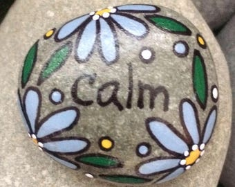 New!  Pocket Happy Rock - CALM - Hand-Painted Beach River Rock Stone - periwinkle blue daisy flower forget me not