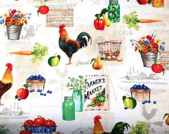 Rooster Fabric - A Day on the Farm - Cotton Fabric - Red Rooster Fabrics - FARM-01