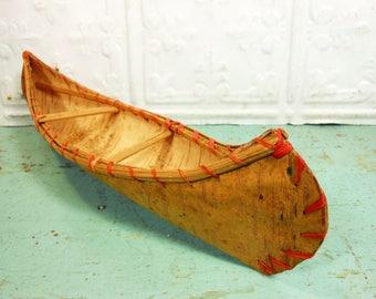 Vintage Birch Bark Toy Canoe, Pioneer Village Souvenir Canoe