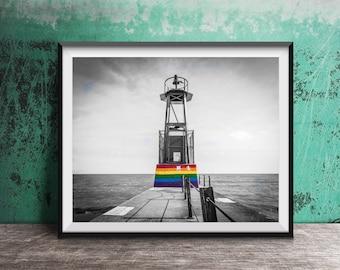 Gay Pride Flag - Rainbow Flag - Chicago Photography - Art Print Photo