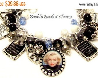 Sale Marilyn Monroe Quotes Charm Bracelet in Black, Photo Charm Bracelet, Altered Art Charm Bracelet, Silver Charm Bracelet