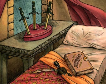 Original Painting - Three of Swords - Everyday Witch Tarot