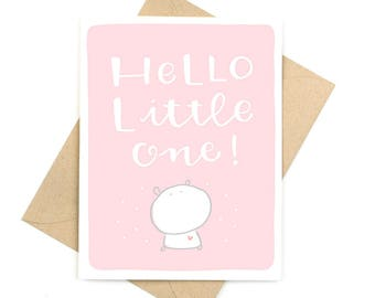 new baby card  -  hello little one - pink -  recycled paper