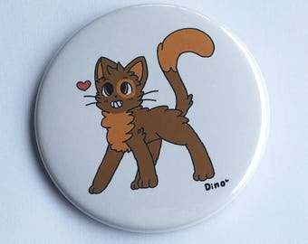 "Kitty cat 2.5"" Pinback Button - Cute Illustration Pin/Badge - by Dino-Derp"