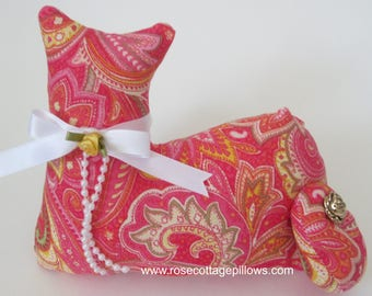 Cat Doll, Shades of Pink and Yellow Swirl Cat, Pillow Tuck, Cottage Chic Cat, Geometric Print Cat, Stuffed Cat