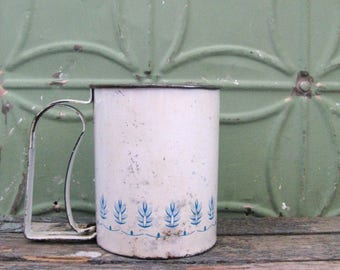 Vintage Flour Sifter, Androck Blue Wheat, Blue Country Kitchen, Rustic Kitchen