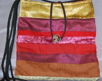 Cross body Cotton Velveteen and Satin Handbag