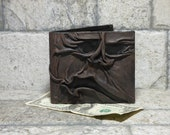 Necronomicon Evil Dead Leather Men Bi Fold Wallet Goth Black Brown Zombie Monster Face Horror Fantasy Fathers Day Gift 533